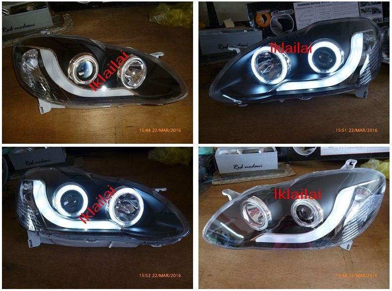 Toyota Altis '01-08 Projector Head Lamp CCFL Ring LED DRL R8