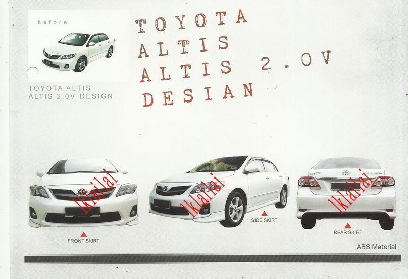 Toyota Altis '10-'12 OEM Style Body Kit ABS Skirting + LED Spoiler