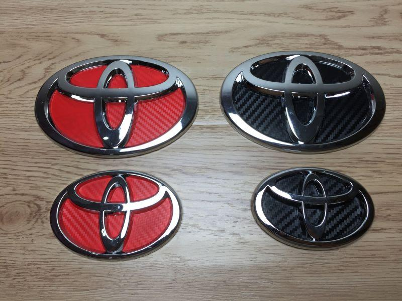 Toyota Black/Red Carbon Look Emblem 2pcs