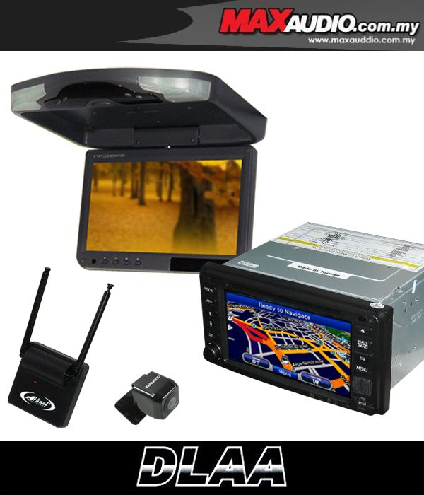 TOYOTA DLAA DA-687G 7' 2-Din DVD GPS + 9' Roof Mnt + Rear Camera + TV