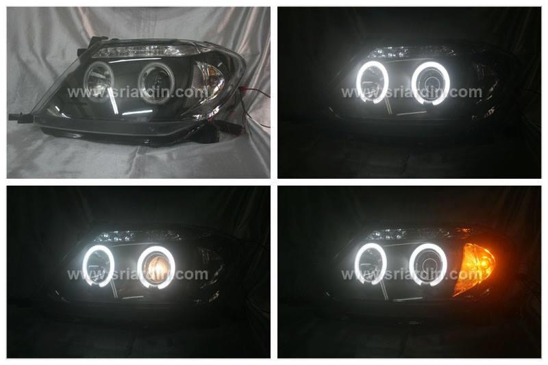 Toyota Hilux Vigo 05 Black Face Projector Headlamp w LED & Ring