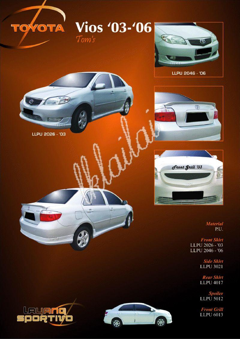 Toyota Vios '03-'06 [Tom's] Body Kits Free Spoiler + Paint Work