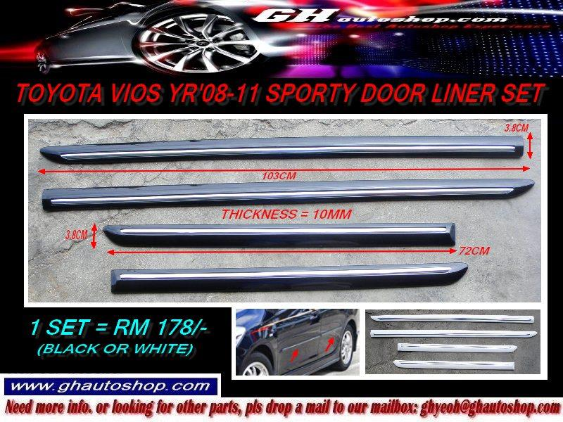 TOYOTA VIOS YR08-13 SPORTY SIDE DOOR LINERS SET (BLACK/WHITE)
