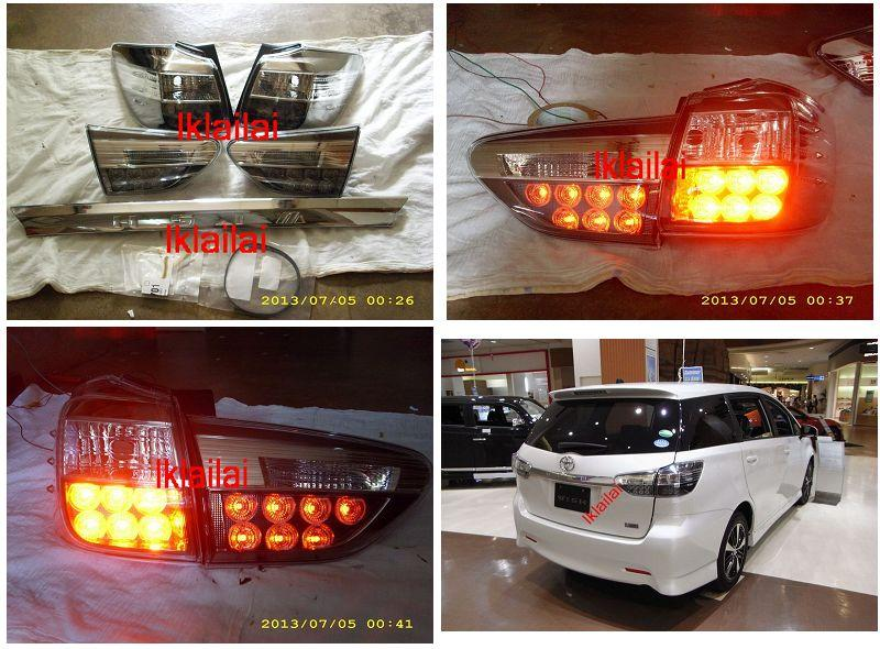 Toyota Wish '13 LED Tail Lamp [Smoke] + Chrome Garnish