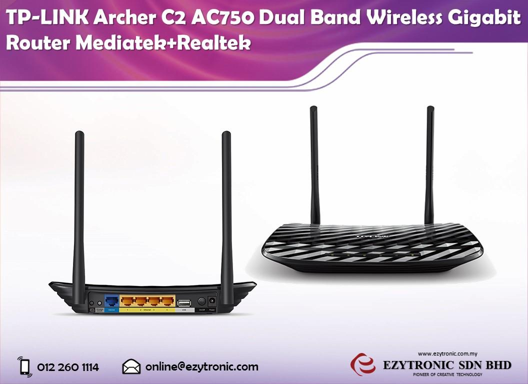 TP-LINK AC750 Archer C2 4 Port Dual Band Wireless Gigabit ...