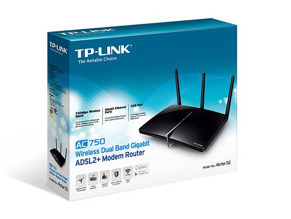 TP-LINK ARCHER D2 AC750 WIRELESS DUAL BAND GIGABIT ADSL2+ MODEM ROUTER