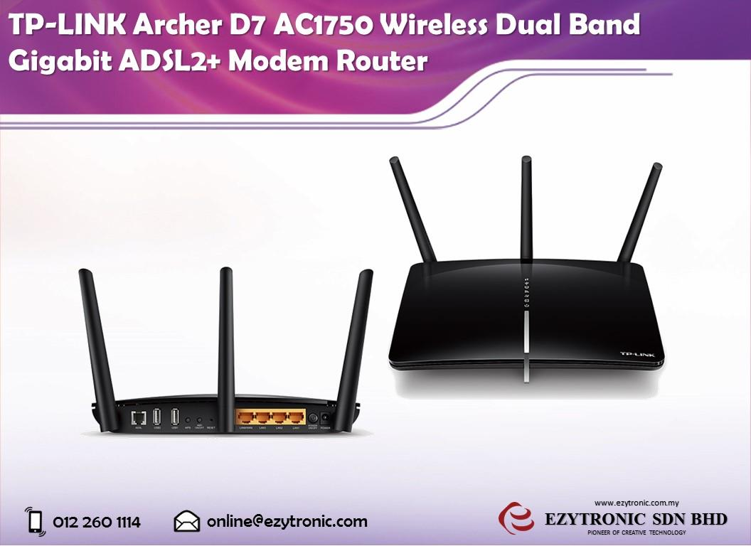 TP-LINK Archer D7 AC1750 W/less Dual Band Gigabit ADSL2+ Modem Router