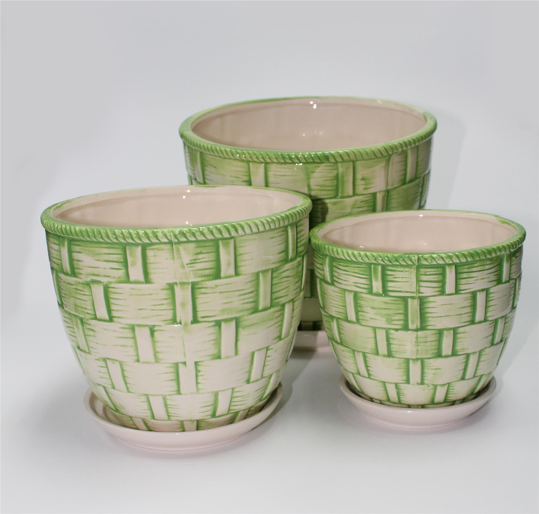 Traditional Embroidery Pattern Ceramic Pots