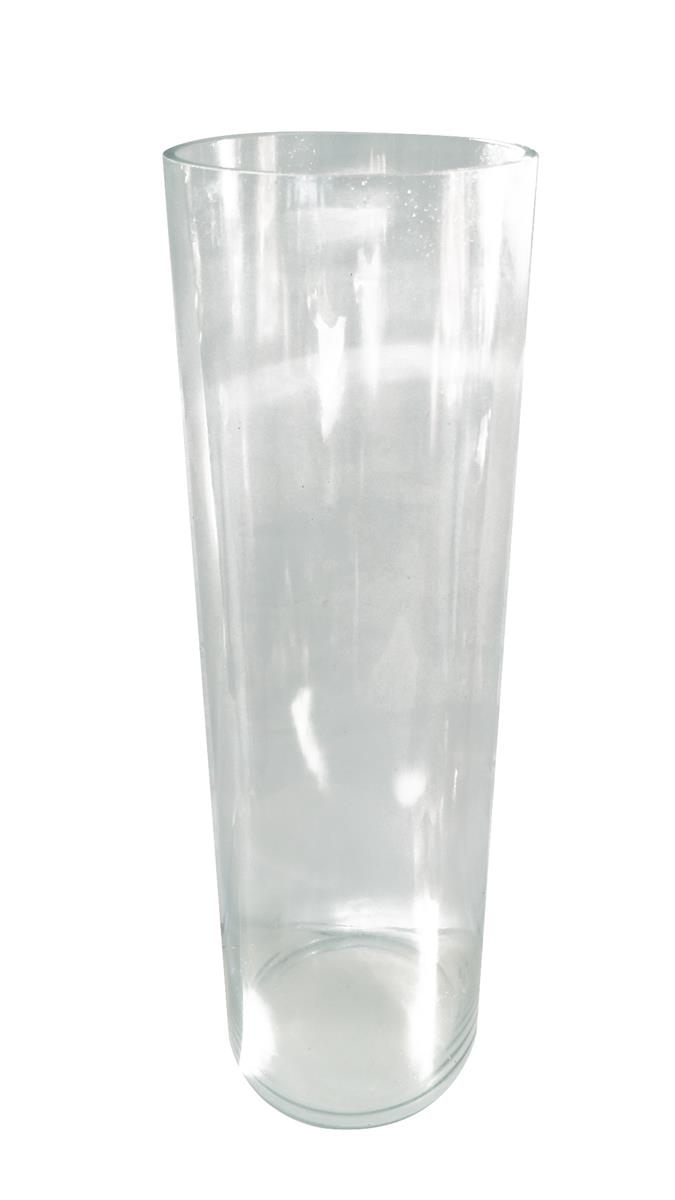 TRANSPARENT CYLINDER SHAPE GLASS VASE H 50 CM