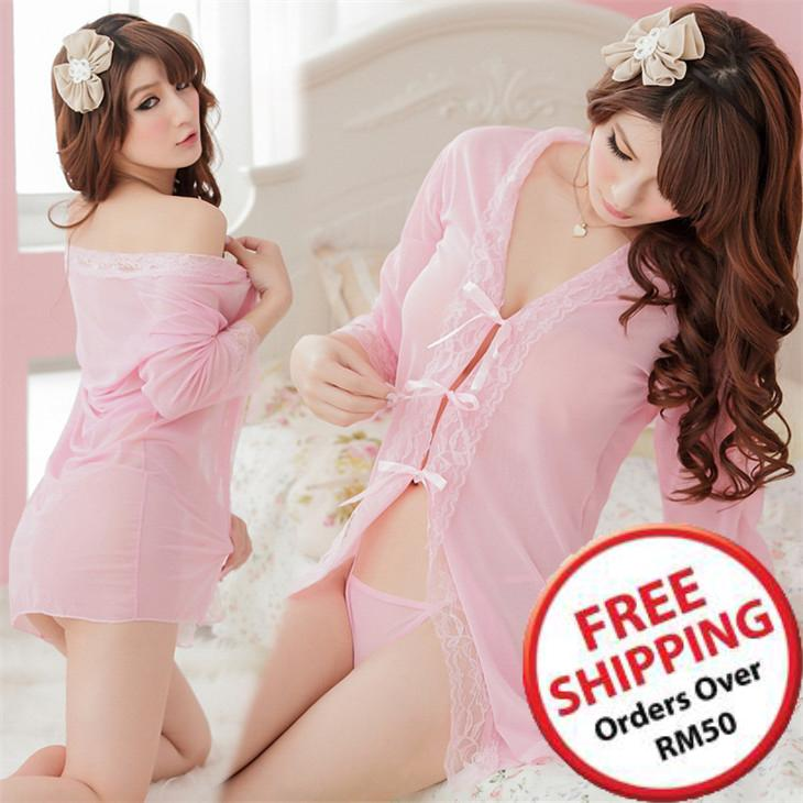 Transparent Sexy Bathrobe Suit 3 pcs (Pink) ~ 16580