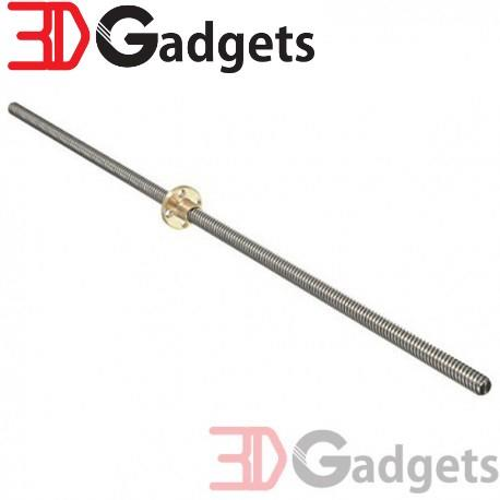 Trapezoidal Screw & Brass Nut -400mm,8mm Lead 2mm Pitch for 3D Printer