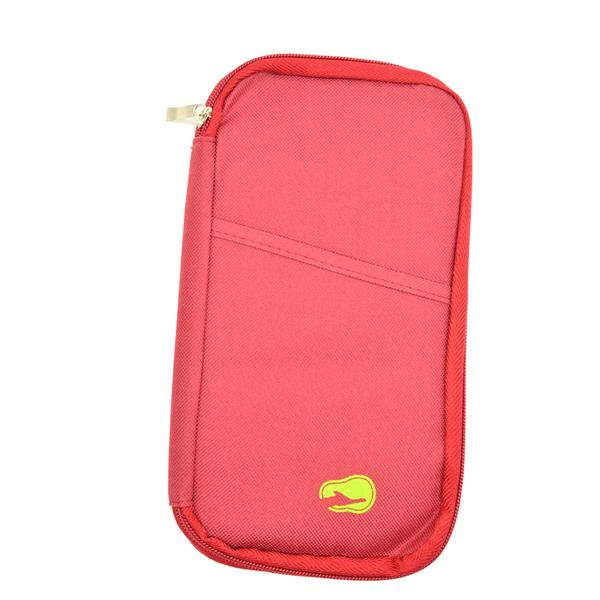 Travel Organizer Bag Pocket for Passport Cards Wallets Docs (Dark Red)