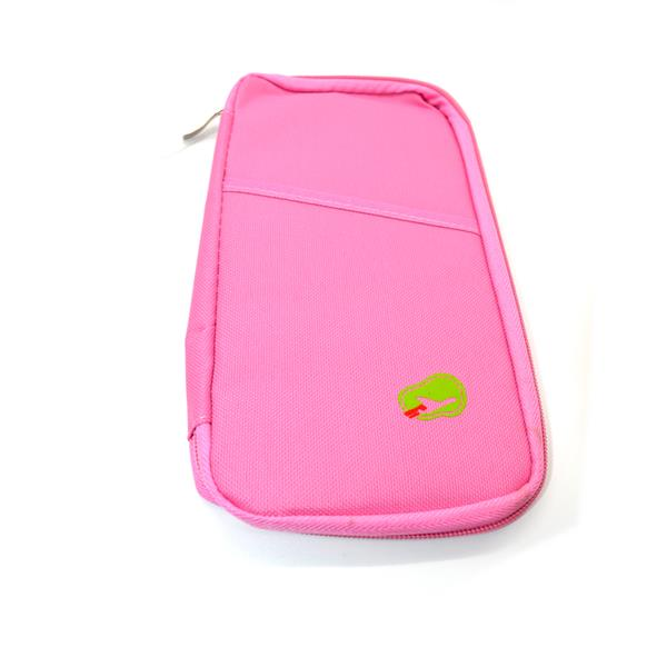 Travel Organizer Bag Pocket for Passport Cards Wallets Docs (Pink)