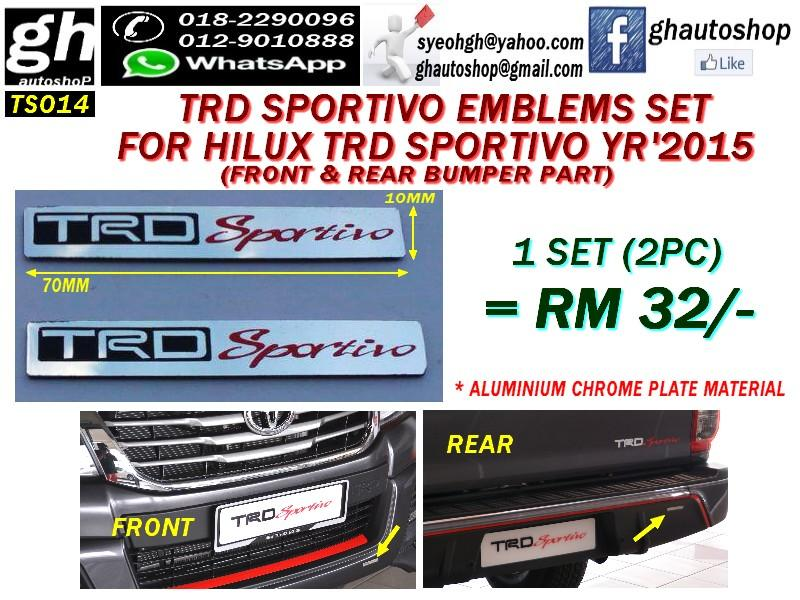 TRD SPORTIVO LOGO EMBLEMS SET FOR HILUX TRD SPORTIVO YR15 BUMPER (2PC)