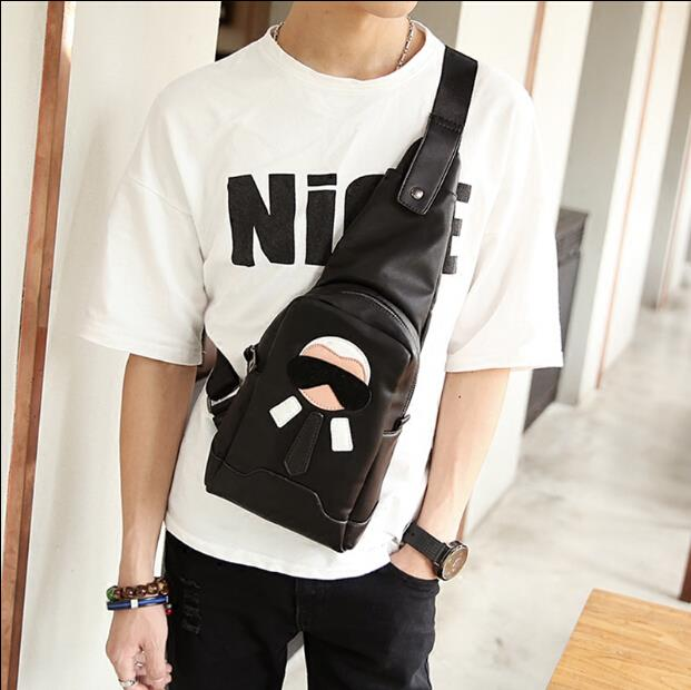 Trend hit color cortical cartoon villain Korean men women chest bag