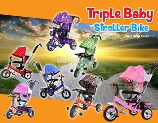 TRICYCLE BIKE / TRIPLE BABY STROLLER BIKE WITH HEAD COVER