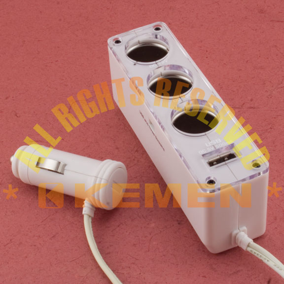 Triple Car Cigarette Lighter Socket with USB Charging Port - White