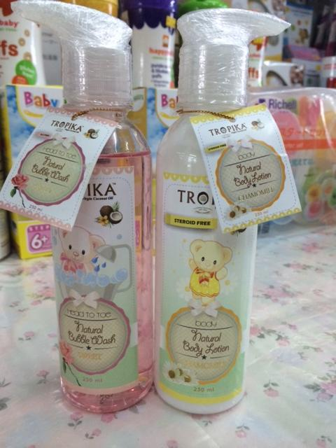 Tropika head to toe bubble wash (Rose) + Chamomile Lotion