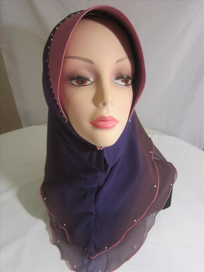 Tudung 2 layer ( pink grey )