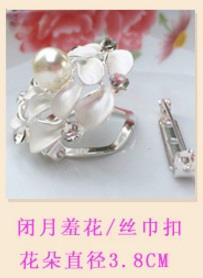 Tudung/Scarf Two Way Usage Pin/Clip/Brooch - White Rose