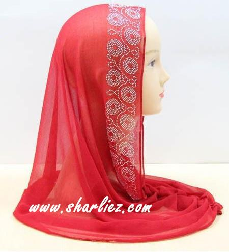 Tudung & Shawl with beads & diamond