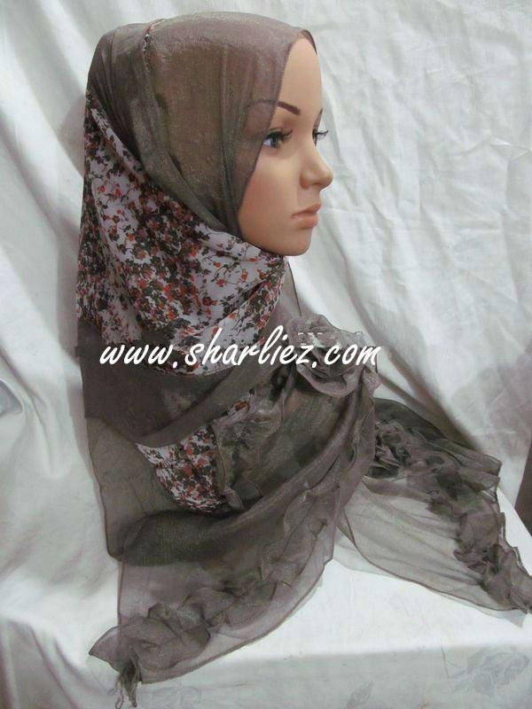 Tudung & Shawl beautiful big size flower print lady