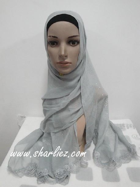 Tudung & Shawl big size scarf diamond beads pattern edge 2