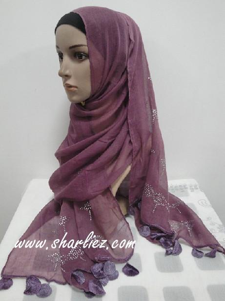 Tudung & Shawl big size scarf diamond beads pattern edge