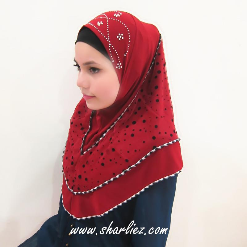 Tudung & Shawl circle polka dots diamond beads 3