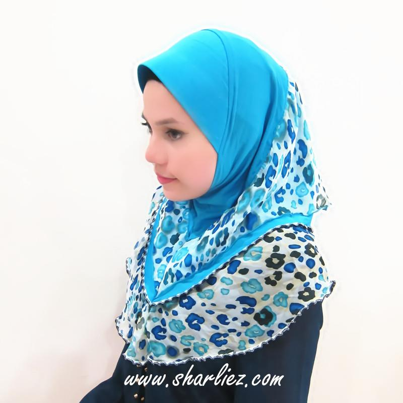 Tudung & Shawl double layer double colour tone leopard print 3