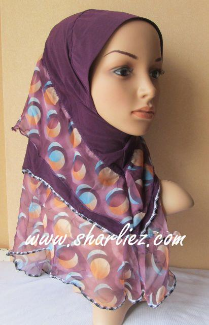 Tudung & Shawl double layer double colour tone leopard print