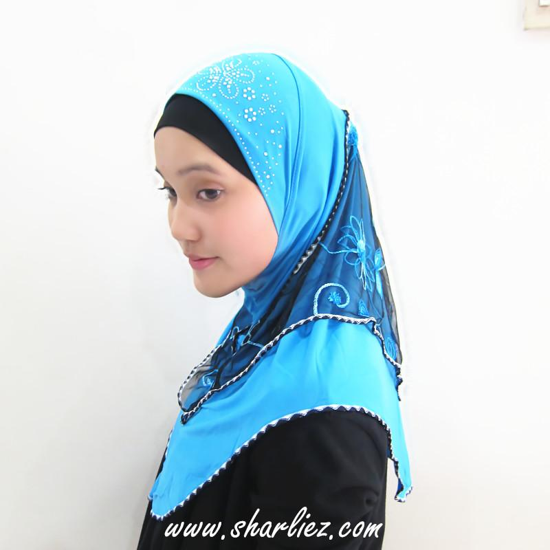 Tudung & Shawl embroidered flower diamond beads 3