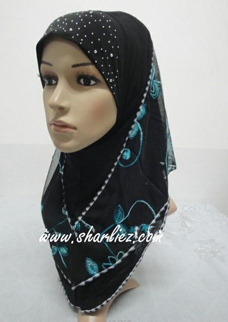 Tudung & Shawl embroidered flower diamond beads