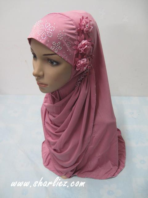 Tudung & Shawl flower beads diamond 2