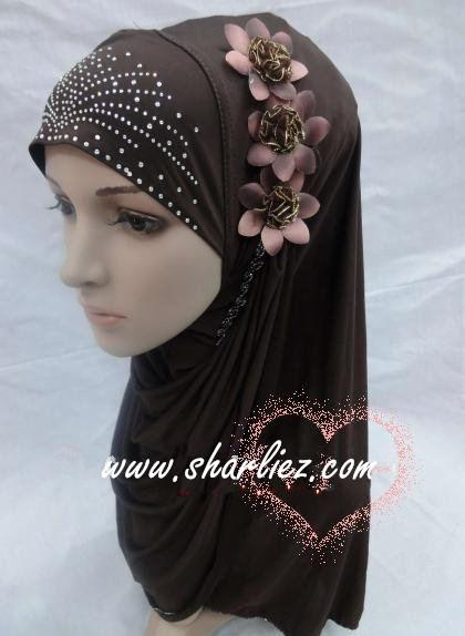 Tudung & Shawl flower beads diamond
