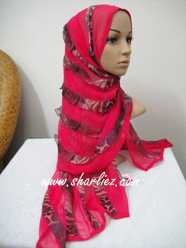 Tudung&Shawl layer double colour tone glitter shining leopard print 2