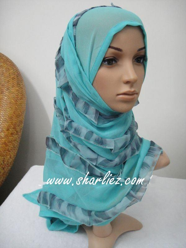 Tudung&Shawl layer double colour tone glitter shining leopard print 3