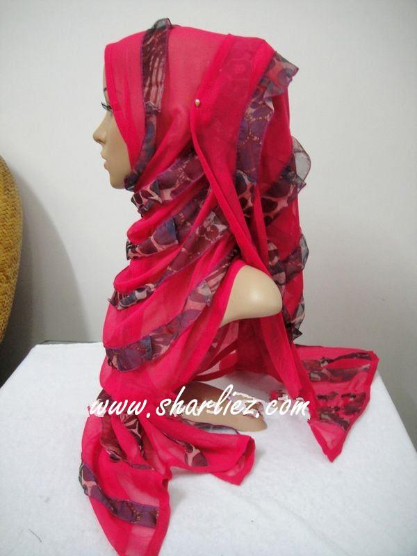 Tudung & Shawl layer double colour tone glitter shining leopard print