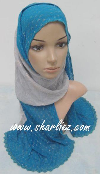 Tudung & Shawl leopard print plain double layer double colour tone 2