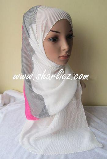 Tudung & Shawl Mixed Colour Tone crease