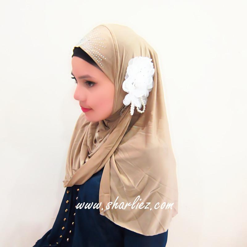 Tudung & Shawl pearl flower beads diamond 3