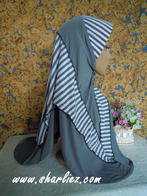 Tudung & Shawl with stripes double colour tone