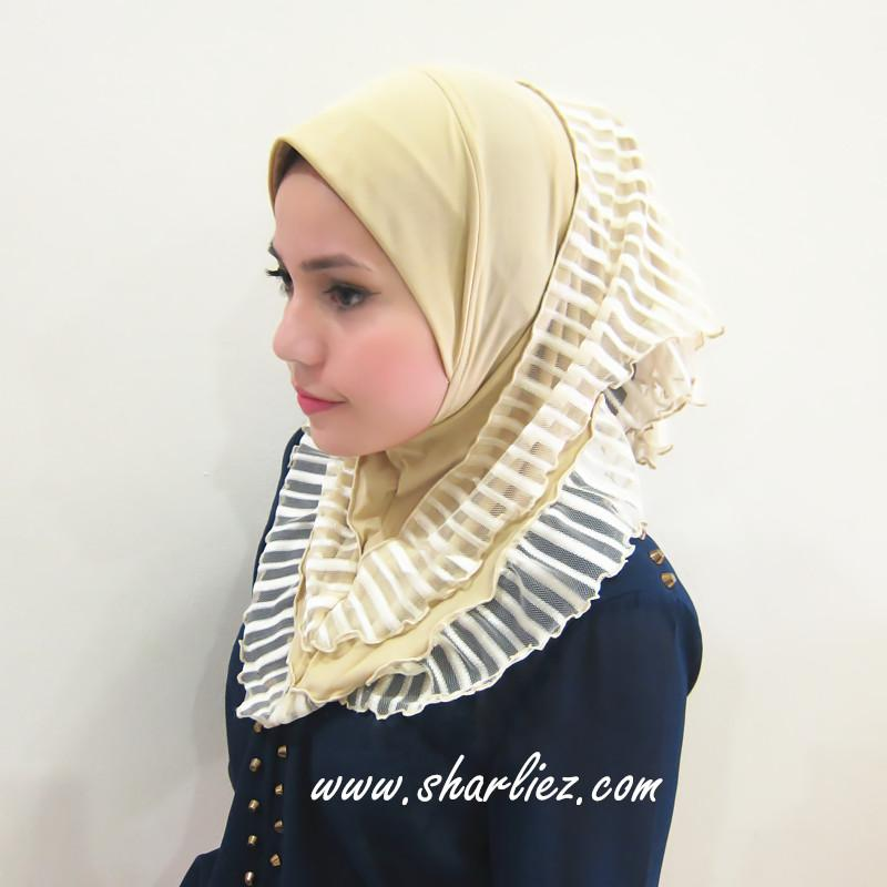 Tudung & Shawl stripes layer short 3