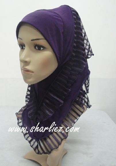 Tudung & Shawl Stripes Layer Short