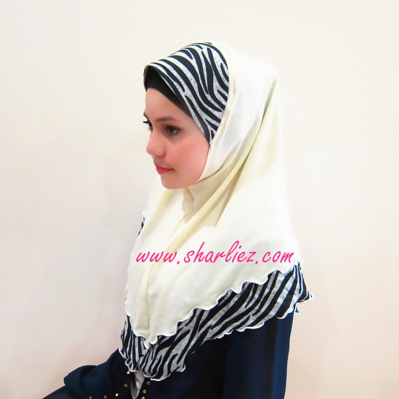 Tudung & Shawl zebra print cotton casual 2