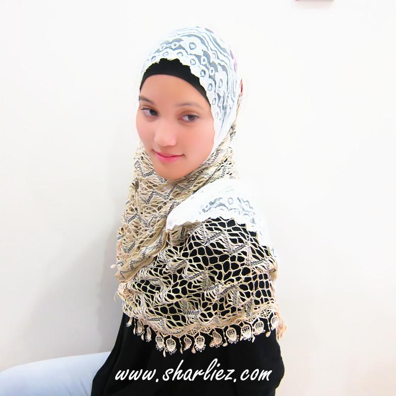 Tudung & Shawl zigzag net embroidered 2