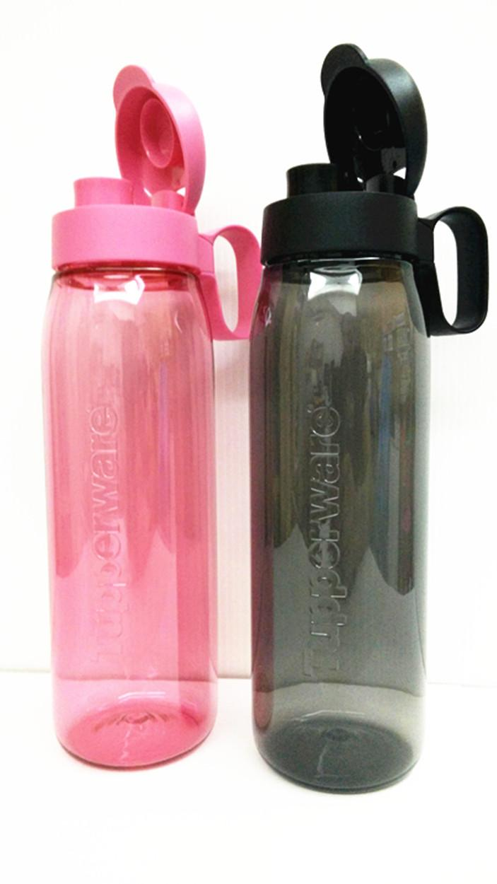 Tupperware (2) H2GO Eco Water Bottle Flip Top 750ml Black & Pink