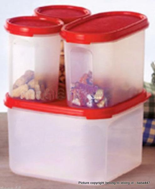 TUPPERWARE 4PC MODULAR MATES STARTER SET CHILLI RED / BLACK