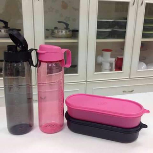 Tupperware H2GO Bottle Set (2) 750ml  with Easy Oval Keeper (2)