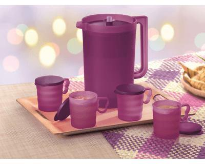 Tupperware Lady Lavender Giant Pitcher (1) 4.2L with Mugs & Seals (4)